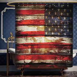 Wanranhome Custom-made shower curtain American Flag Decor by