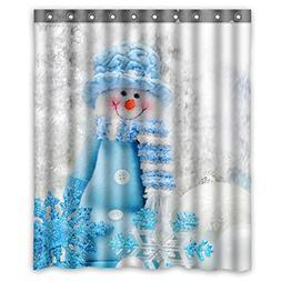 ZHANZZK Merry Christmas Cute Snowman Waterproof Polyester Sh