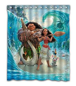 Maodam Custom Moana Movie Waterproof Fabric Bathroom Shower