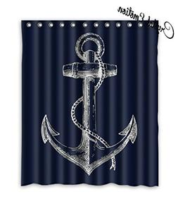 Custom Nautical Navy Blue Anchor Shower Curtain, 60x72 inch