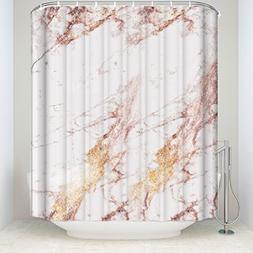 BMALL Customize Rose Gold flashing marble Shower Curtain Bat