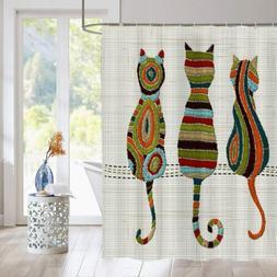 Cute Animal Cat Shower Curtain Knitted Fabric Bathroom Decor