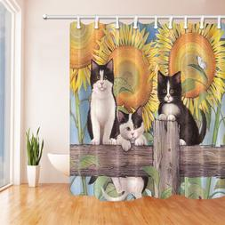 Cute Cat on Wooden in Sunflower Polyester Fabric <font><b>Sh