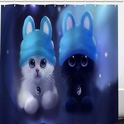 HomyHeart Cute Cat Shower Curtain Fabric,Blue and White Anim