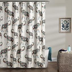 """Lush Decor Lush Décor Hati Elephants Shower Curtain, 72"""" x"""