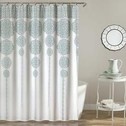 "Lush Decor Stripe Medallion Shower Curtain, 72"" x 72"", Blue"