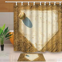 NYMB Sport Decor, Old Baseball on Home Plate Surrounded by D