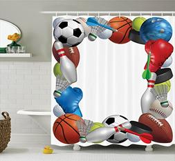 Ambesonne Sports Decor Collection, Frame with Sport Equipmen