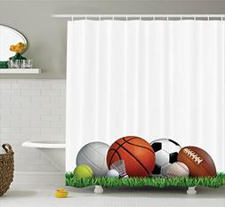 Ambesonne Sports Decor Collection, Sports Equipment on Grass