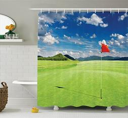Ambesonne Sports Decor Collection, Golf Field with Flag in t