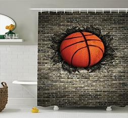 Ambesonne Sports Decor Collection, Basketball Embedded in a