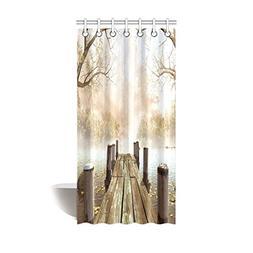 InterestPrint Decor Fall Trees Wooden Bridge Foggy Lake Natu