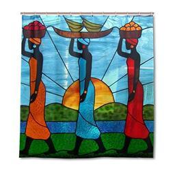 JSTEL Decor Shower Curtain African Art Women Pattern Print 1