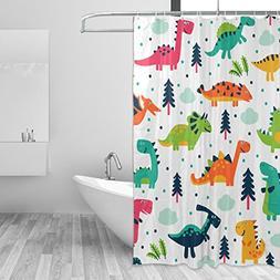 JSTEL Decor Shower Curtain Cute Dinosaurs Cartoon Pattern Pr