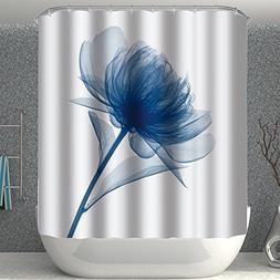 BROSHAN Decor Shower Curtain Fabric,Modern Flower Xray Blue
