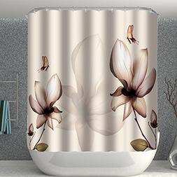 Jenave Decor Shower Curtain Floral Decor Design Polyester Fa