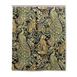 JSTEL Decor Shower Curtain William Morris peacock Prints Pat