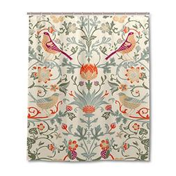 JSTEL Decor Shower Curtain William Morris Flower Pattern Pri