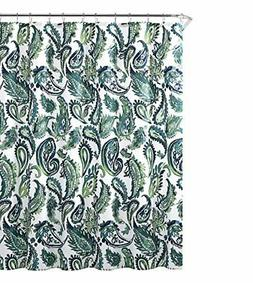 Decorative Blue Green Fabric Shower Curtain: Watercolor Flor