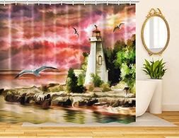 decorative colorful fabric shower curtain