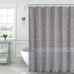 Emily Decorative Sheer Fabric Shower Curtain: Gray Silver Em