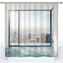 Decorative Shower Curtain,Modern Decor,Empty Loft Cityscape