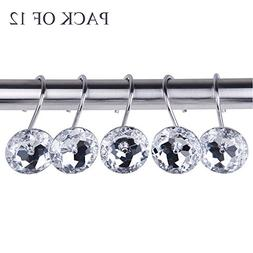 Adwaita Decorative Shower Curtain Hooks - Glass Crystal Rhin