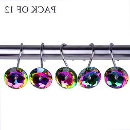 Adwaita Decorative Shower Curtain Hooks - Glass Crystal Rhin