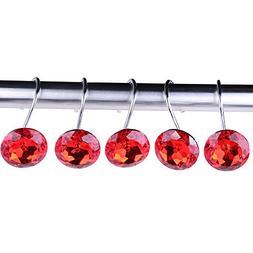 Adwaita Decorative Shower Curtain Hooks - Acrylic Crystal Rh