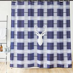 Orange Design Deer icon Grey and Blue Grid Shower Curtain Wi