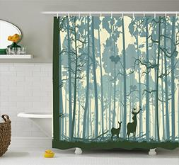 Ambesonne Deer Shower Curtain Set, Silhouette of Animal in F