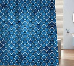 Sunlit Designer Fish Scale Mermaid Tail Geometric Shower Cur
