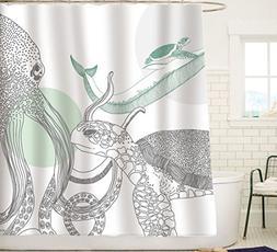 Sunlit Designer Ocean Animals White Fabric Shower Curtain wi