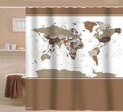Sunlit Designer New Updated World Map Quality Fabric Shower