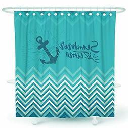 DESIHOM Nautical Shower Curtain Teal Anchor Shower Curtain B