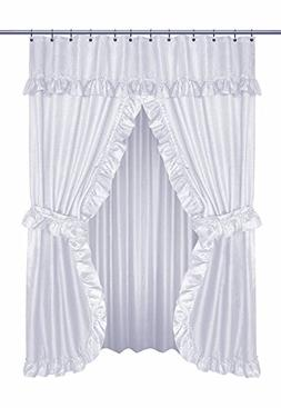 Diamond Dot Ruffled Double Swag Fabric Shower Curtain With V