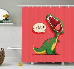 Ambesonne Dinosaur Shower Curtain, Aggressive Prehistoric Ca