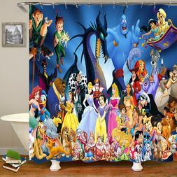 disney characters design waterproof fabric shower curtain