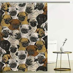 Dog Fabric Shower Curtain Sets Bathroom Decor 12 Hooks Water