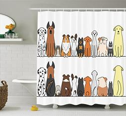 Ambesonne Dog Lover Decor Shower Curtain Set By, Multicultur