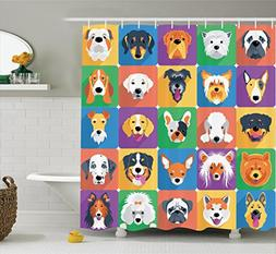 Ambesonne Dog Lover Decor Shower Curtain, Dog Breeds Profile