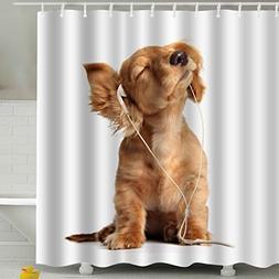 BROSHAN Dog Lover Decor Shower Curtain Collection Fabric,Fun