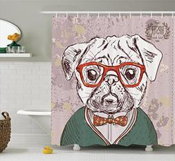Ambesonne Dog Lover Decor Shower Curtain Set, Vintage Illust