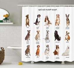 Ambesonne Dog Lover Decor Shower Curtain Set, A Group Of Dif