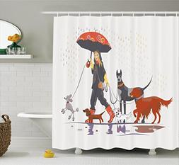 Ambesonne Dog Lover Decor Shower Curtain Set Young Modern G