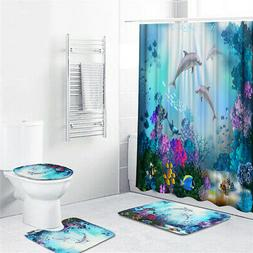Dolphin Waterproof Bathroom Shower Curtain Toilet Cover Mat