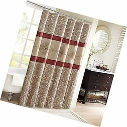 Madison Park Donovan Design Weave Red Shower Curtain, Jacqua