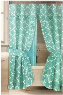 Double Swag Fabric Shower Curtain Set with 12 Metal Rolling