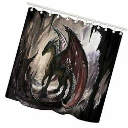 KOTOM Dragon and CAVE Shower Curtain  69'' W By 70'' L