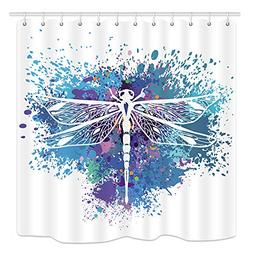 dragonfly boho shower curtain insect animal on